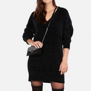 Express   Soft Chenille V Neck Sweater Dress